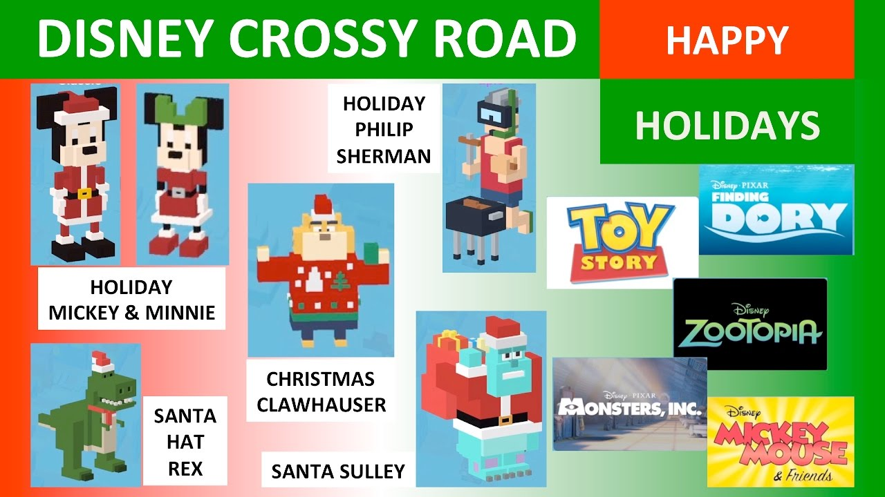Disney Crossy Road Christmas Update.Disney Crossy Road Happy Holidays Santa Sulley Christmas Clawhauser Holiday Mickey Etc