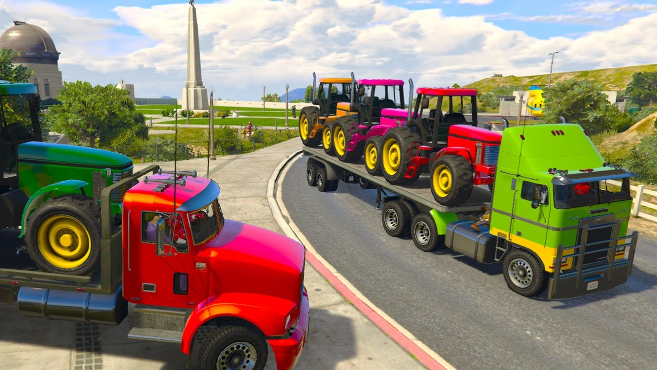 Colors TRACTOR Transportation on Truck Spiderman Superheroes ...