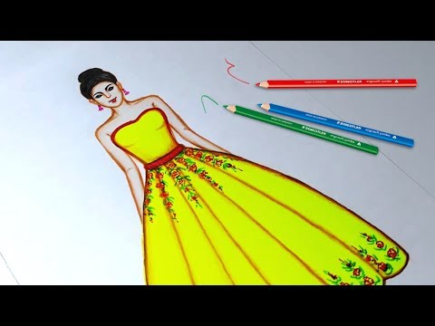 drawing-flower-dress-using-color-pencil- -fashion-illustration-art- -fashion-illustration-sketches