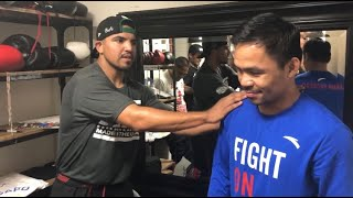 Manny Pacquiao Surprised By Victor Ortiz At Wild Card Gym