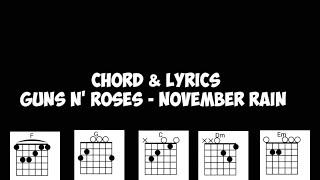 Chord & Lyrics November Rain - Guns N'Roses