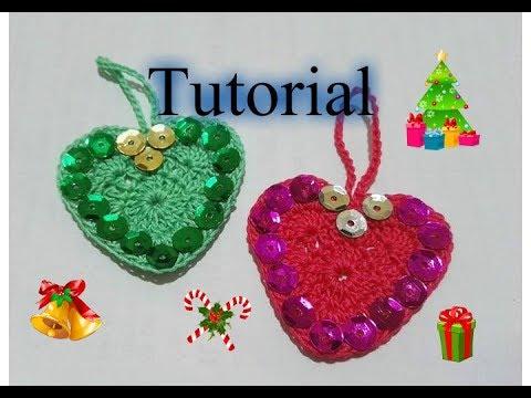Albero Di Natale Alluncinetto Semplicissimo.Tutorial 28 Cuore Di Natale Semplicissimo All Uncinetto How To Crochet Christmashearts