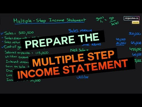 Prepare a Multiple Step Income Statement (Financial Accounting Tutorial #32)