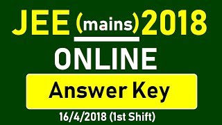 Jee mains Online 2018 | 16/4/2018(1st shift) |  Answer Key with Q. Paper | Chemistry