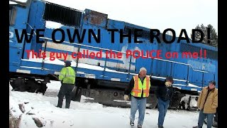 RAILROAD CALLS POLICE FOR ME FILMING DERAILMENT FROM ROAD? | Jason Asselin