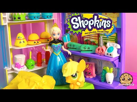 Disney Frozen Queen Elsa, MLP Applejack At Shopkins Small Mart Opening Season 3 12 Pack Video