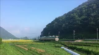 JR姫新線 ひまわり畑を行くキハ122・キハ127 播磨徳久~三日月間 JR Kishin Line goes sunflower field (2018.7)