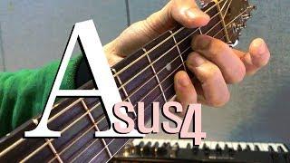 a sus4   -  () a sus4 chord guitar lesson -