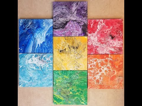 DA17 Chakra Acrylic Pours on 7 Canvases with Sandra Lett 012818