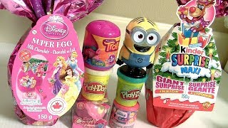 Giant Egg Surprise Disney Princess Anna Elsa Ariel with Disney Emoji Fashems & Play-Doh Surprise