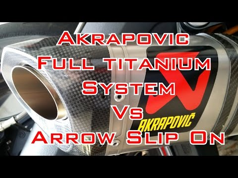 Triumph Daytona R Akrapovic Full Titanium Exhaust vs Arrow Slip On