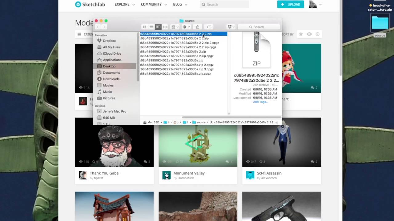 Archive Utility issues with ZIP files from Sketchfab