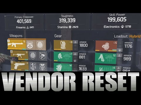 THE DIVISION - AWESOME VENDOR RESET | GOD ROLL WEAPONS, GEAR & GEAR MODS! (YOU NEED TO BUY)