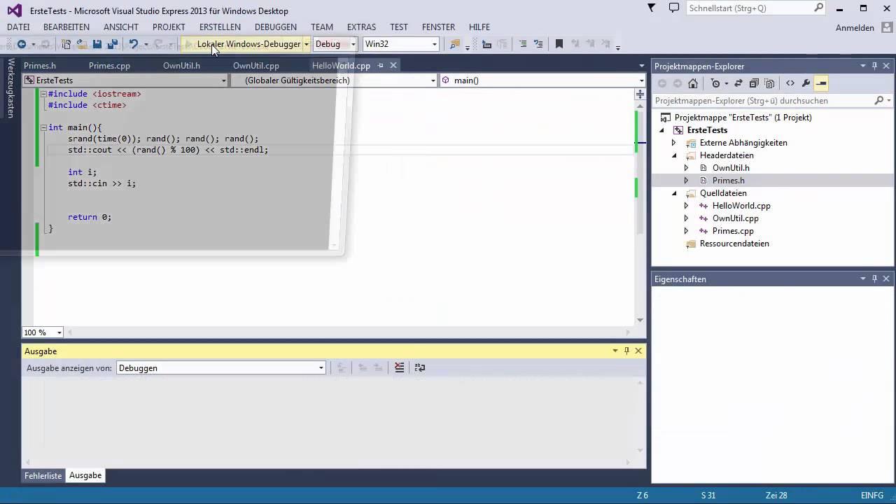 C++ Tutorial [026] – rand() GERMAN