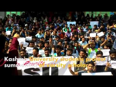 Kashmir University students protest summoning of varsity scholar
