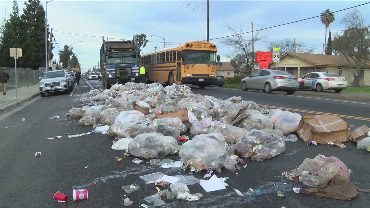 Sanitation employee presses wrong button, unloading 20 yards of trash in Fresno
