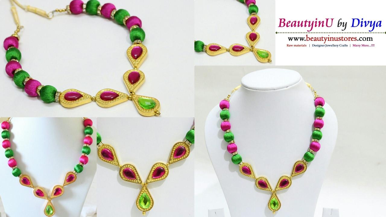 How to make Designer Silk Thread Necklace Silk Thread Jewellery