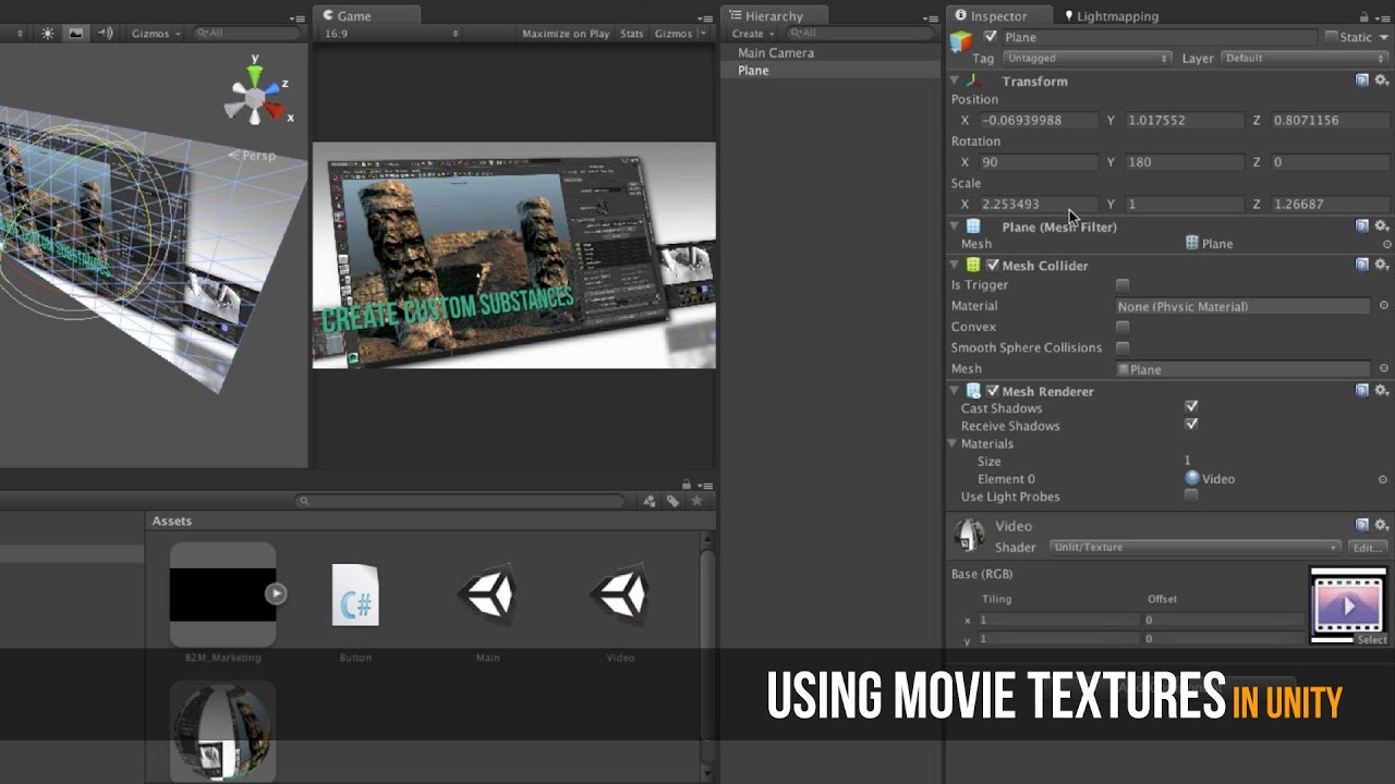 Using Movie Texture in Unity for Cut Scenes