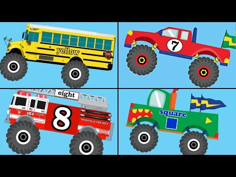Monster Trucks Teaching Collection Vol. 1 - Learn Colors, Colours, Numbers & Shapes