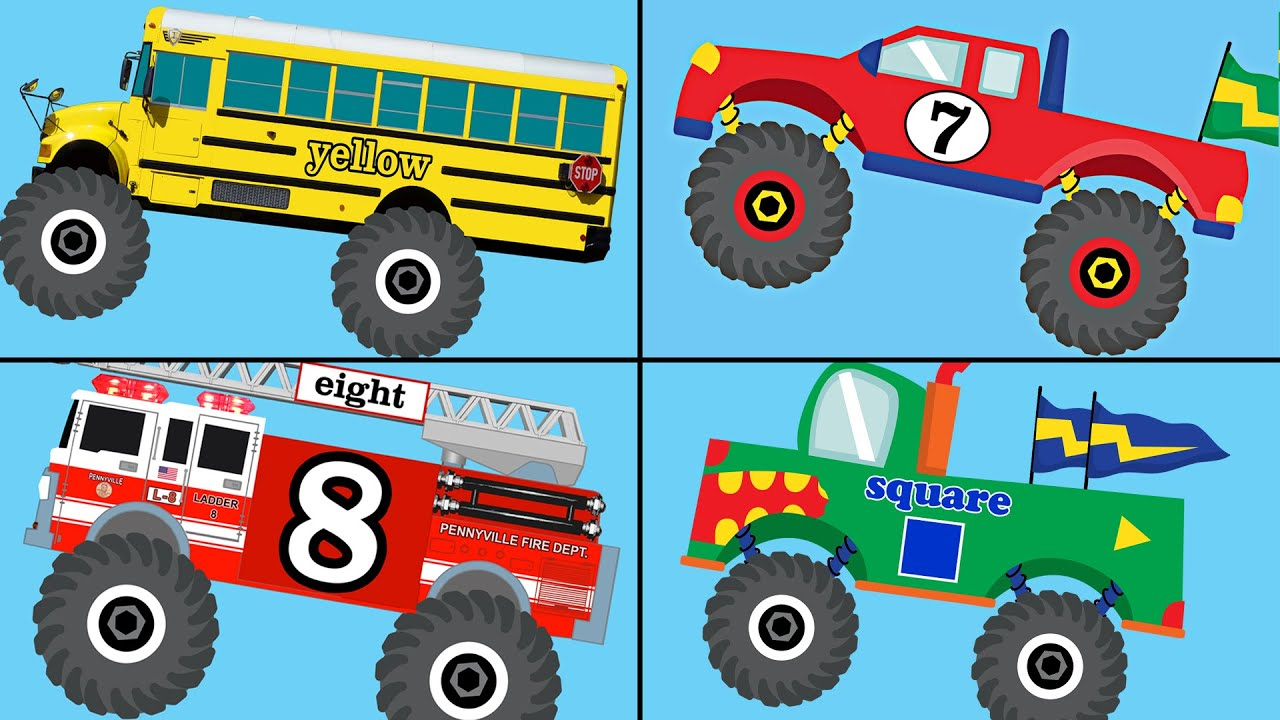 Monster Trucks Teaching Collection Vol. 1 - Learn Colors, Colours ...