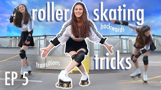 ROLLER SKATING TRICKS for beginners ~ Learning to Roller Skate with me vlog *Outside Skating*