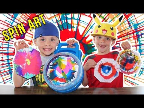 Cra-Z-Art Spinning Art Painting Playset || Twins Messy Art Time Fun