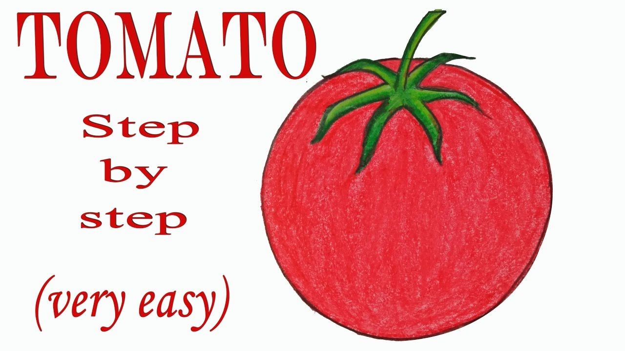 how to draw a tomato step by step very easy  [ 1280 x 720 Pixel ]