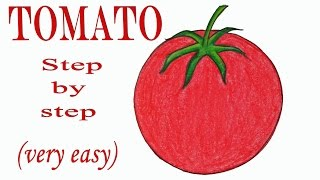 How to draw a tomato step by step (very easy)