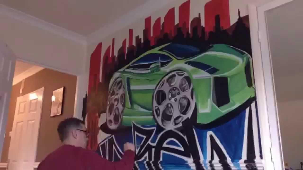 Funky Ferrari graffiti mural by drews wonder walls TIME LAPSE YouTube