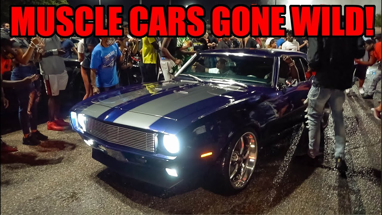 MUSCLE CARS Rip INSANE BURNOUTS In Front of POLICE! (Car Meet Gone Wild!)