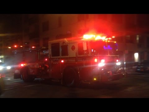 FDNY - Engine 159 Battalion 42 Arriving at a 7 Alarm Warehouse Fire