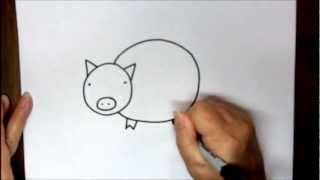How To Draw A Pig Step By Step Easy Cartoon Drawing Tutorial