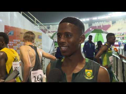 IAAF WU18 Nairobi Mixed Zone - 100m Men Final Silver Retshidisitswe MLENGA