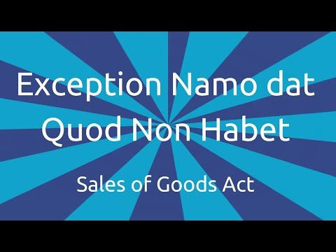 Exception Namo dat Quod Non Habet | Transfer of Ownership and Delivery | CA CPT |CS & CMA Foundation