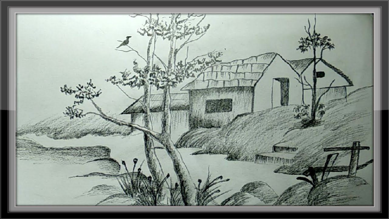 Easy pictures to draw landscape drawing nature in pencil