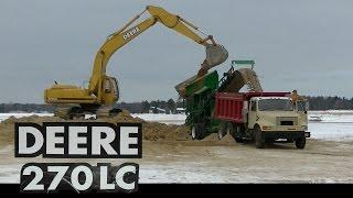 John Deere 270LC Loading Dump Truck with Sand