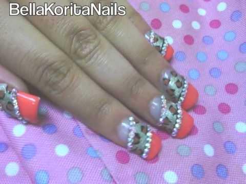 U as salmon leopard dise o con esmalte estilo sinaloense - Unas decoradas con esmalte ...