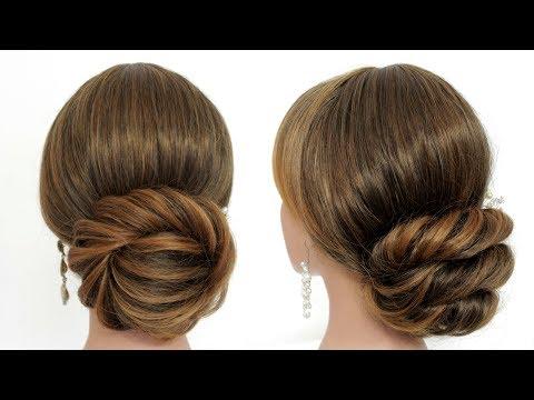 2 Прически на длинные и средние волосы. Легкие низкие пучки.