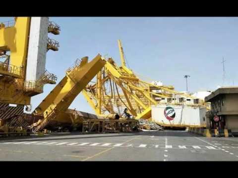 Crane collapse at Jebel Ali Port, Dubai ,United Arab Emirates, harbour accident