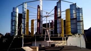 Вертикальный ветрогенератор 4kw 2(Диаметр 5 метров высота 2 метра. При среднем ветре делает 12 оборотов в минут. Здесь все для альтернативной..., 2014-10-14T13:16:25.000Z)