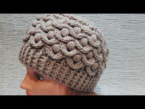 Связать объемную шапку крючком для женщины новые модели