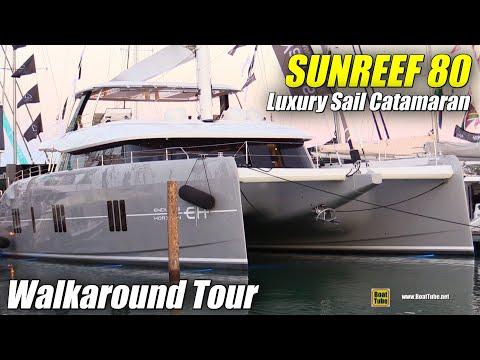 2020 Sunreef 80 Luxury Sail Catamaran - Walkaround Tour - 2020 Miami Boat Show