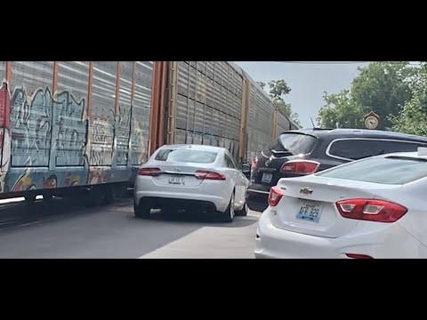 Car Drives Dangerously Close To Street Running Train!  LaGrange Kentucky Street Runner Train!  CSX