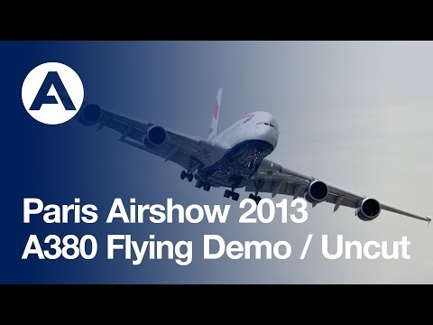 Paris Air Show 2013 - Opening day A380 Flying demo - uncut version