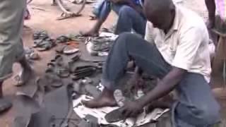 Making tire sandals in Kenya