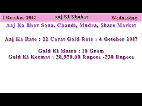 Aaj Ka Rate Gold, Silver, Currency, Share Market 4 October 2017 India Market News in Hindi