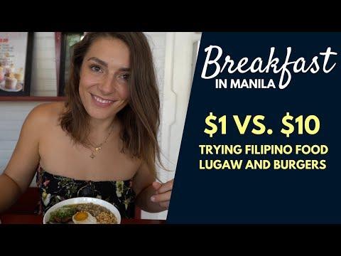 $1 vs $10 BREAKFAST IN MANILA - EUROPEANS TRYING LUGAW IN MANILA - FILIPINO FOOD TEST