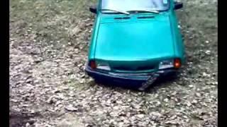 car jump and crash