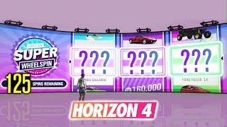 Opening 125 SUPER WHEELSPINS & Wheelspins in Forza Horizon 4!?