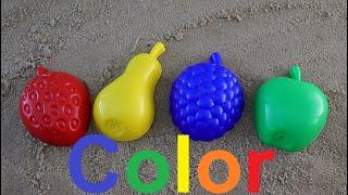 Learn Colors for Children Sand Molds funny fruits/ учим цвета в песочнице